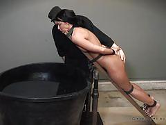 milf, bdsm, crying, breathplay, brunette, tied up, device bondage, water torture, real time bondage, london river