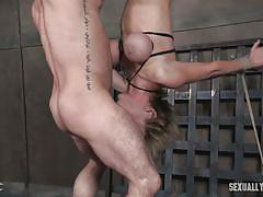 milf, blonde, bdsm, big tits, domination, face fucking, suspended, tits torture, rope bondage, head down, sexually broken, matt williams, sergeant miles, dee williams