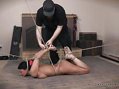 Naughty slave is tied up and humiliated
