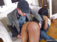 British naughty girl gets her black bubble butt spanked hard