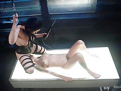 Busty mistress zaps slave with rods and electrodes