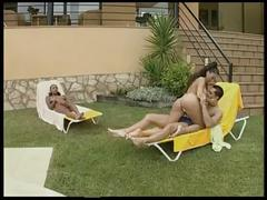 Italian stallion boy fucking with two hot brazilian bitch in the pool outdoor