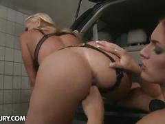 lesbian, blonde, blowjob, wife, longhair, lingerie, strapon, oral, doggy, frombehind, cumonass, punished
