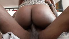 Hot black bitches have hardcore threesome fuck with a stud