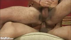 Hot gay takes bareback cock riding