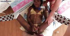 Ebony shemale gets slammed in threesome