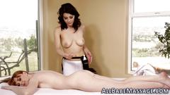 Masseuse shaves lez pussy