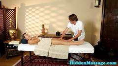 Cocksucking teenie fucked on massage table