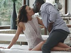 Huge black dick slides deep into natural brunette vanessa decker