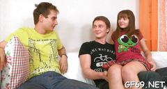Chick pleasuring hungry dudes teen video 3