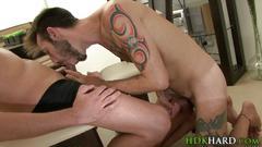 Barebacked latino facial blowjob