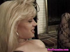Amateur tranny banging her lover after a bj