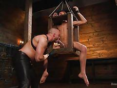 gay, balls torture, bdsm, handjob, blowjob, bondage box, clothespins, pain, device bondage, bound gods, kink men, jessie colter, chance summerlin