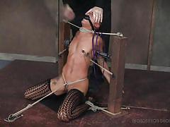 Cute ebony slave must endure the pain