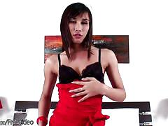 Leaked full video of shy ladyboy in red jerking till cumshot