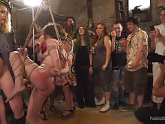 Shibari submissive girls taken hard while suspended