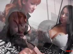 lesbian, blonde, milf, redhead, big-tits