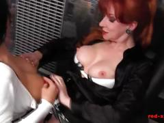 Milf red office fuck session with a busty brunette