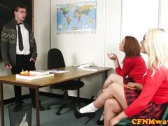 Schoolgirl cfnm wanking teachers cock