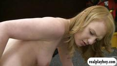 Blond girl flashes tits and gets banged for a few bucks