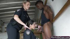 Outdoor fucking with busty cops and big black cock