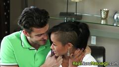 Nuru masseuse gets facial blowjob
