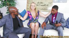 Bigtitted milf cumsprayed in interracial trio