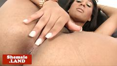 Classy ebony trans playing with her cock