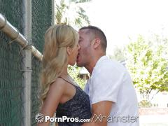 Pornpros tiny bella rose blows dick and fucked on bench