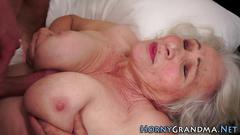 Tit fucked granny sucks