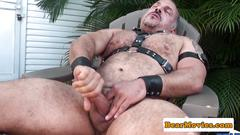 Solo mature bear jerking off until jizzing