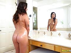 karlee grey, brad knight, blowjob, cumshot, facial, cum, wet, reverse cowgirl, bath, bubble, rider, bath tub, caught, ride, spunk