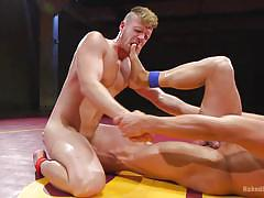 Gay wrestling match ends with heavy ass fucking