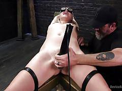 Blindfolded sub gets vibrating orgasm torture
