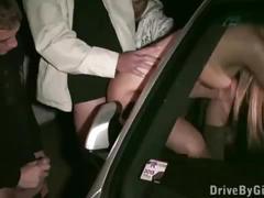 A fashion model stuck her butt through car window in a public sex gang bang orgy
