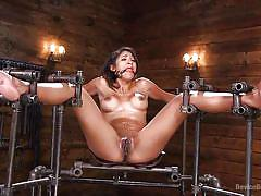 Ballgagged latina lost in orgasm bliss