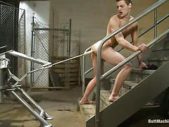 Slave masturbates as machine pegs his ass