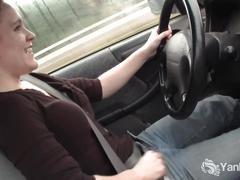 Hottie lou masturbating in the car
