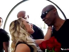 Cali carter blows five big black cocks