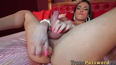 Hot shemale knows how to ride that big dildo in her ass