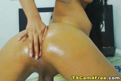 Hot shemale loves to finger her tight ass