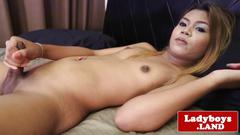 Uncut smalltitted thai tgirl wanking off solo
