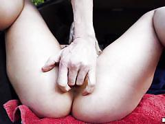 Blonde hiker in boots fucked in the trunk of the car