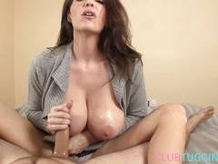 Busty mature jerking hard cock pov