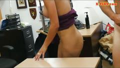 Curvy woman with big tits gets screwed by pawnshop owner