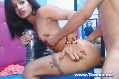 Cute tranny gets her ass drilled