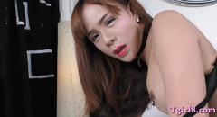 Tgirl with big tits gets her ass banged bareback in bed