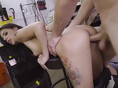 Gina valentina gets fucked across a car hood