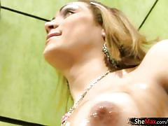 Full movie of feminine shegirl oiling up round boobs and ass