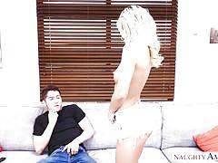 Blonde babe deepthroats her voyeur neighbor